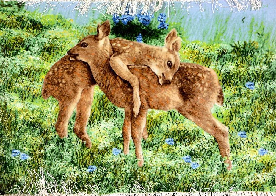 Fine Tabriz 'Part-Silk' Pictorial Rug (Bambi Kids),