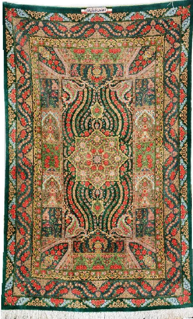 Fine Green Silk Qum 'Ahmad Rajabian Fard' Rug (Signed),