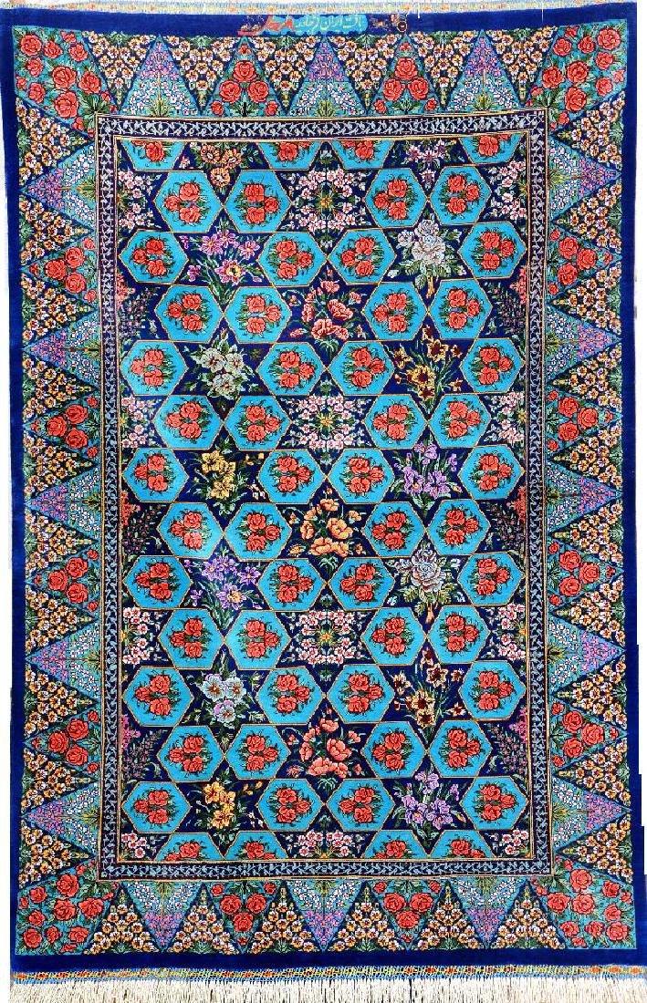 Very Fine and Unique Silk Qum 'Djavid' (Signed),