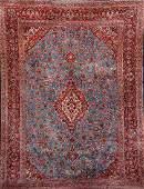 Blue Ground Fine Kurk Kashan Carpet,