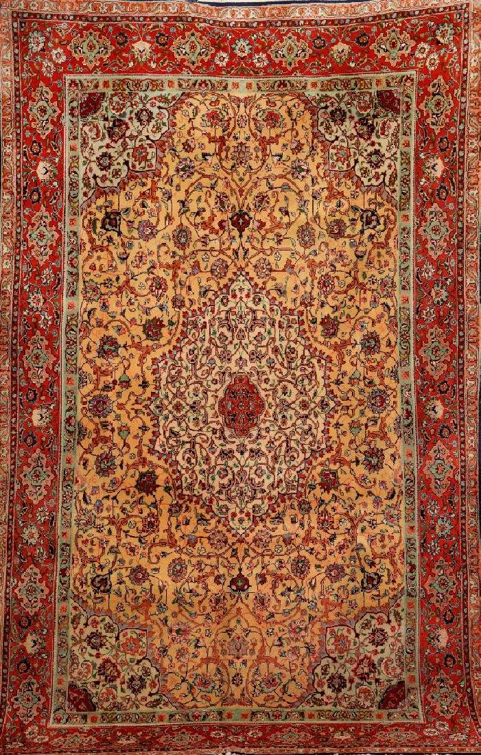 Yellow Ground Tabriz Carpet,