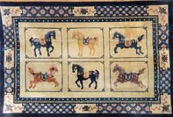 Chinese Silk Rug Horse Design