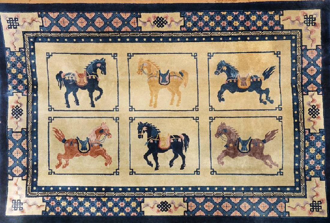 Chinese Silk Rug (Horse Design),