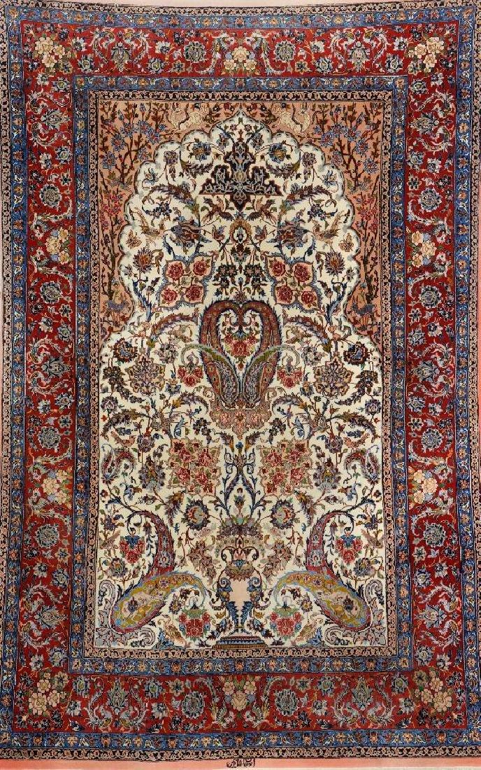Fine Isfahan (Part-Silk) 'Shakerin' Rug (Signed),