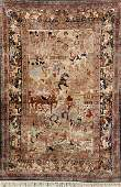 Very Fine Chinese Silk Pictorial Rug Famous