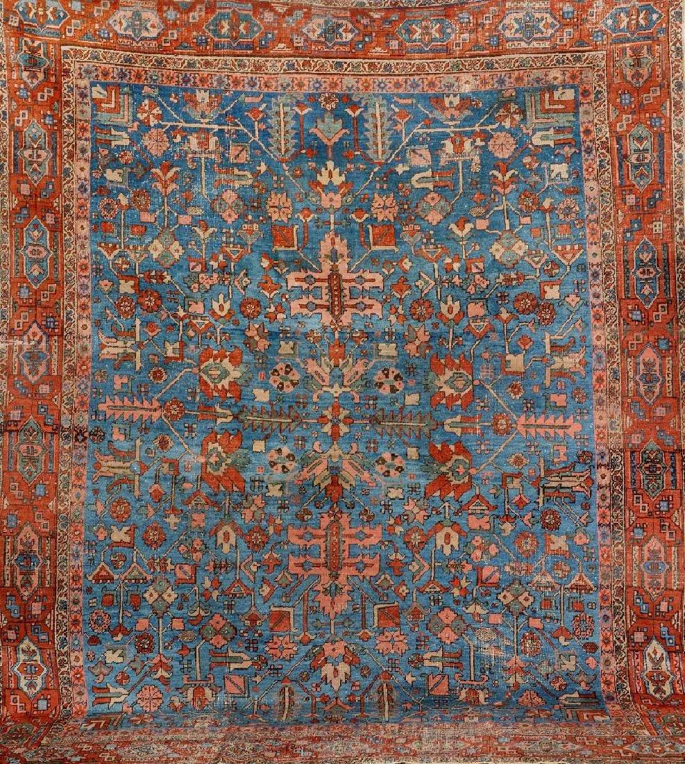 Unusual Blue Ground Heriz Carpet,