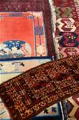 (5 Lots) 2x Chinese Rugs, 1x Saryk Chuval, 1x P-Chodor