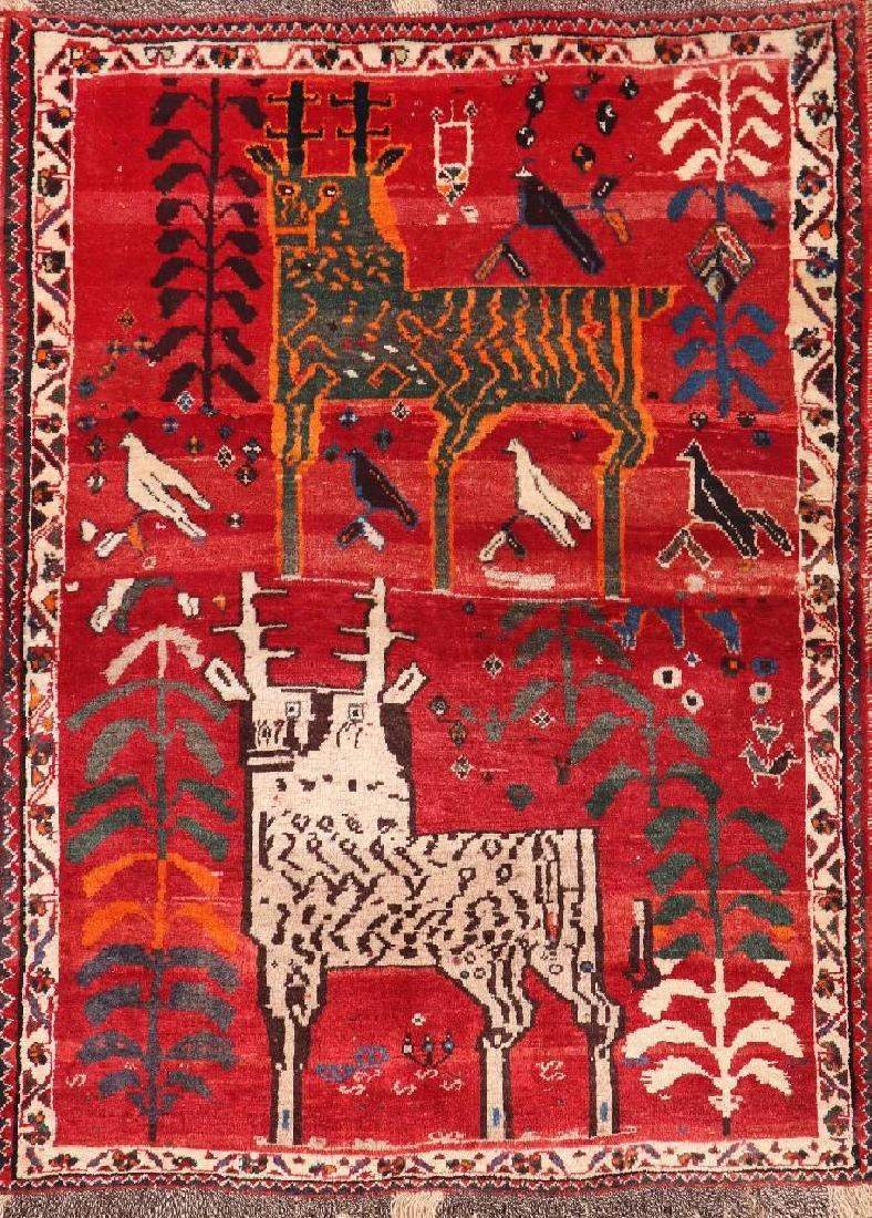 Shiraz Gabbeh Rug (Deer Motif),