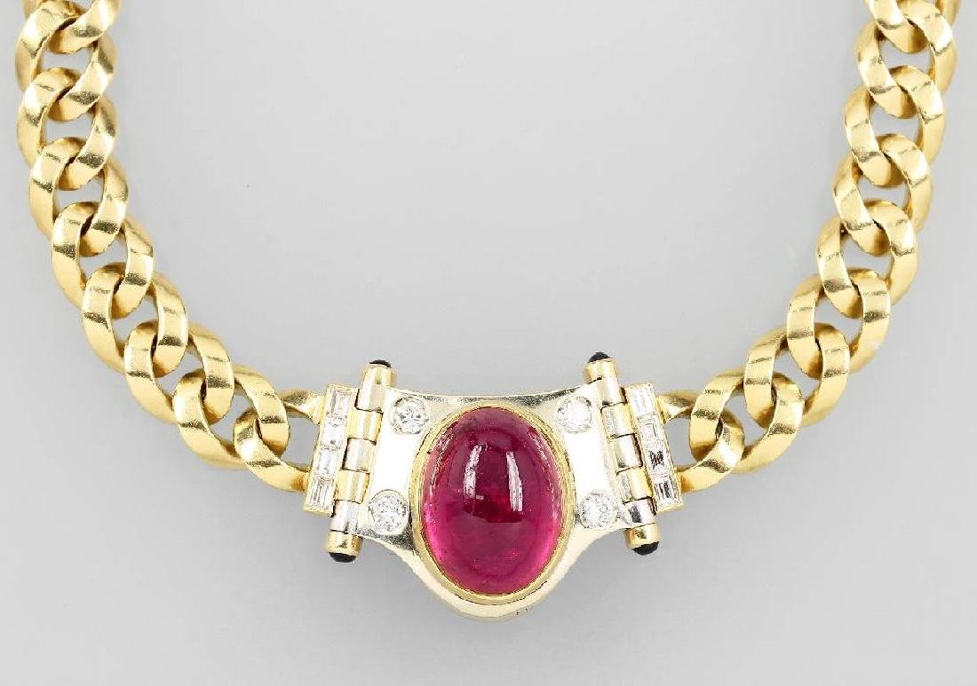 18 kt gold necklace with tourmaline, sapphires and