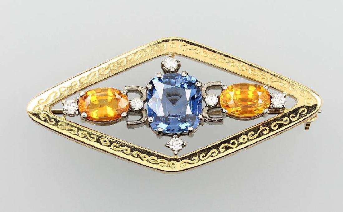 18 kt gold brooch/pendant with sapphires and brilliants