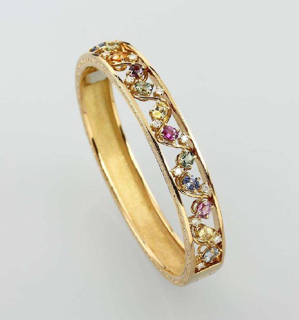 18 kt gold bangle with coloured stones and brilliants
