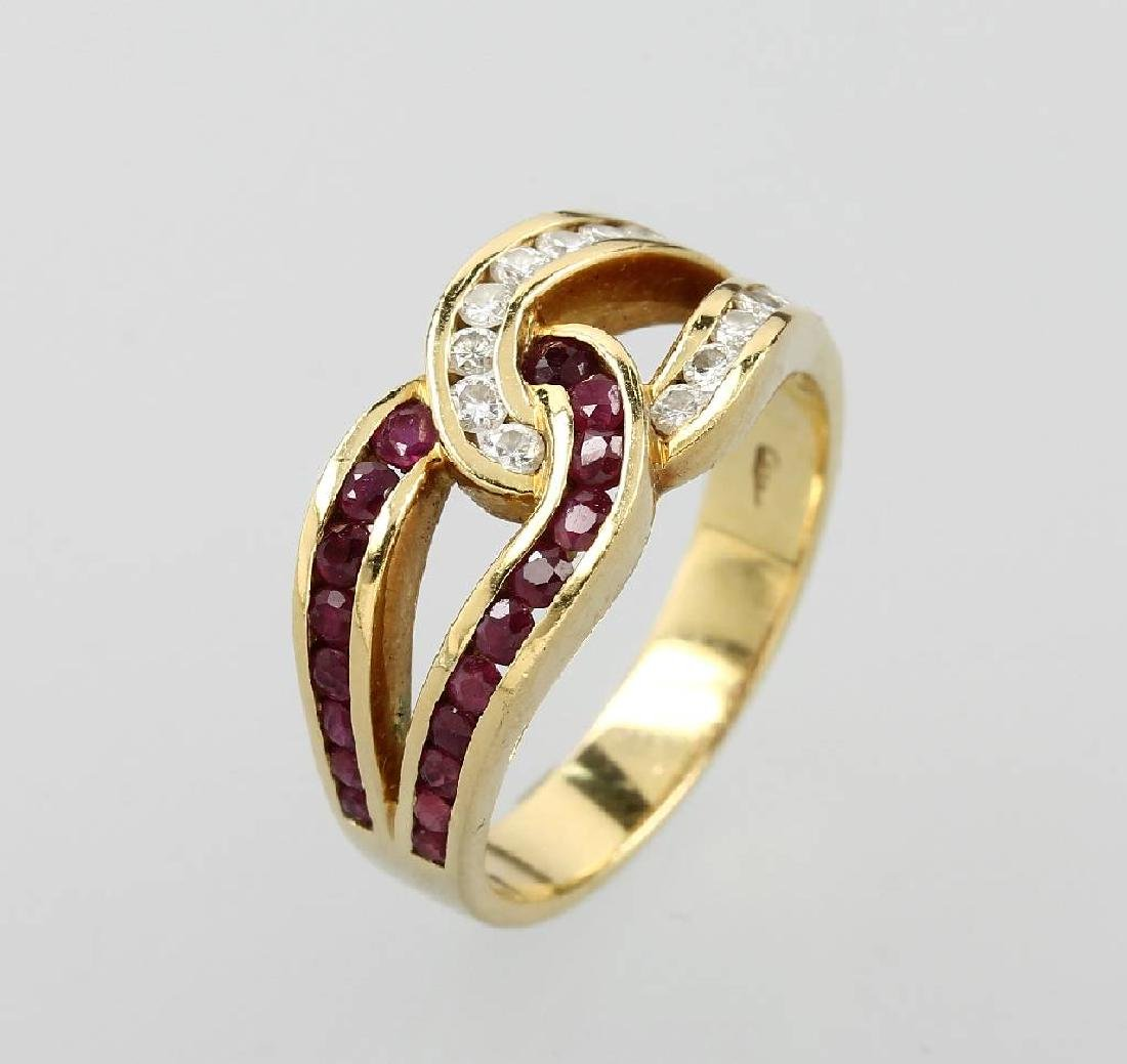 18 kt gold WEMPE ring with rubies and brilliants