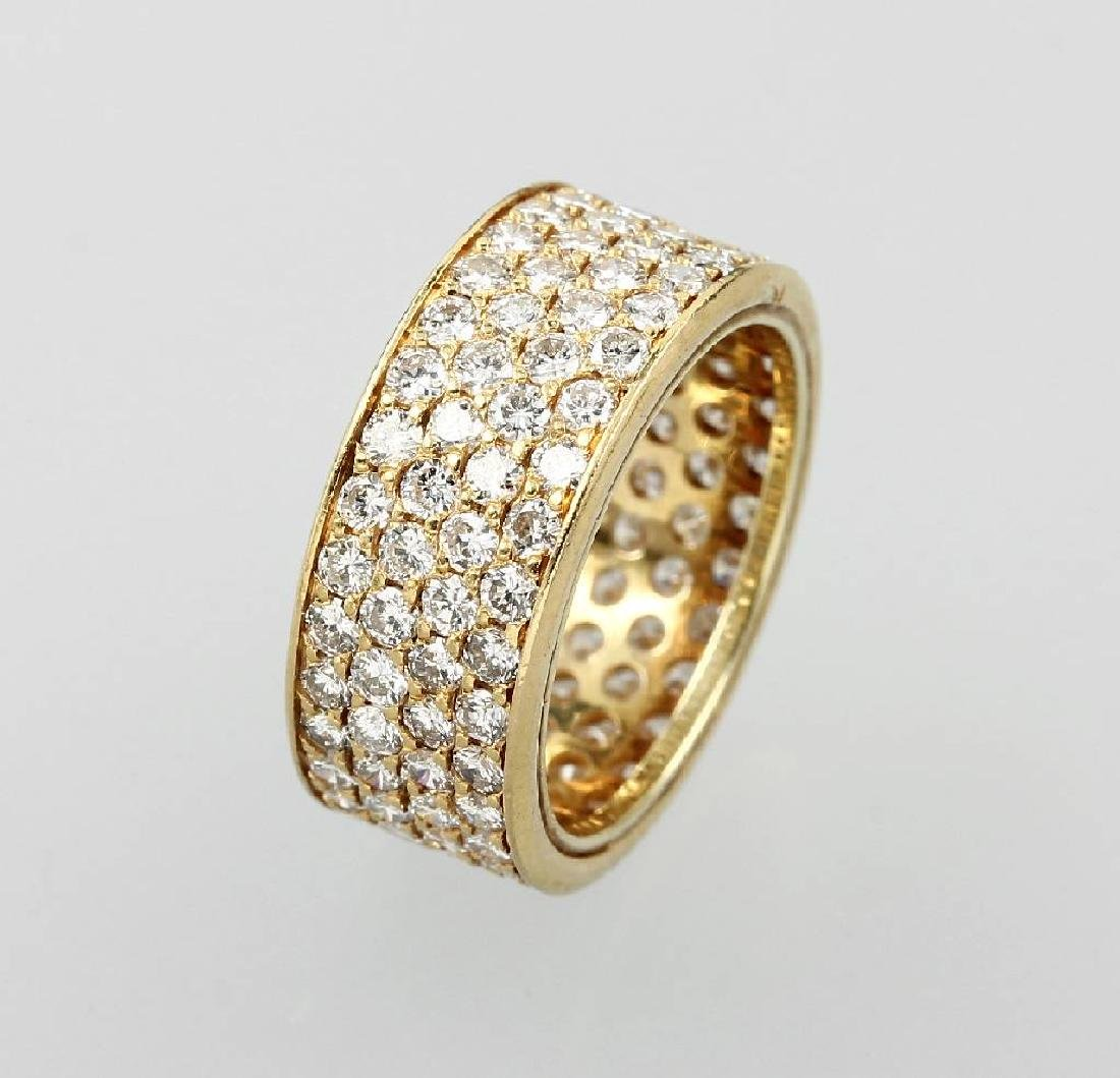 4-row 18 kt gold memoryring with brilliants