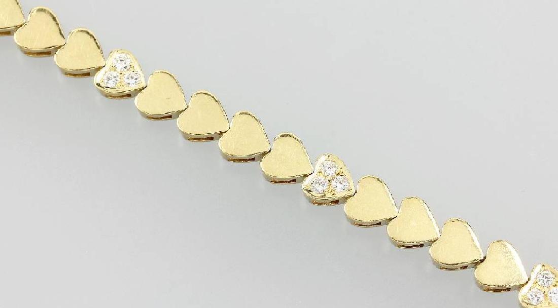 18 kt gold bracelet 'hearts' with diamonds
