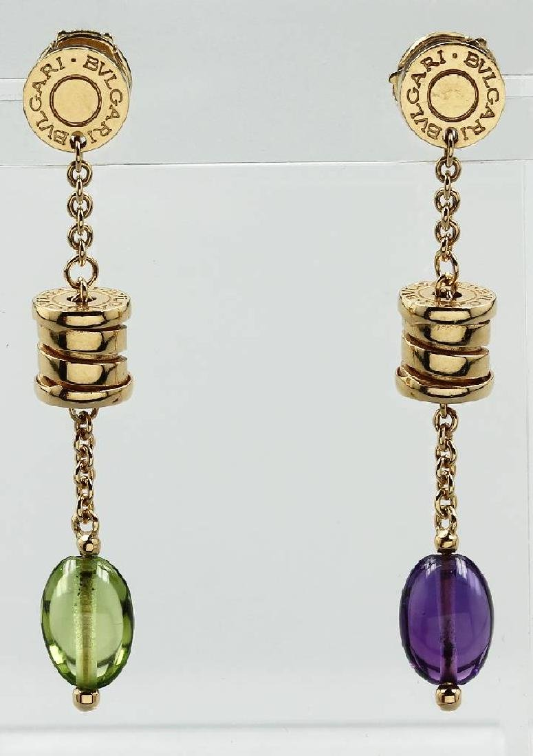 Pair of 18 kt gold BULGARI earrings with coloured