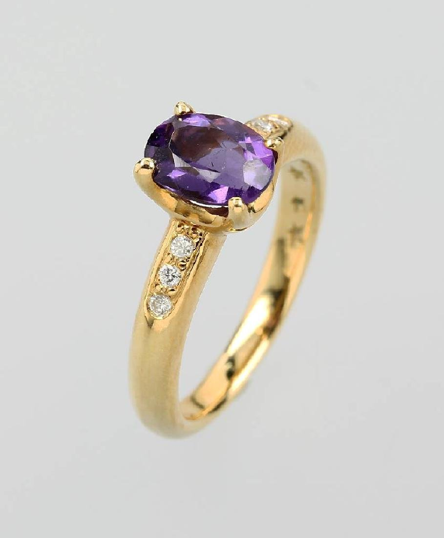 18 kt gold STERN ring with amethyst and brilliants