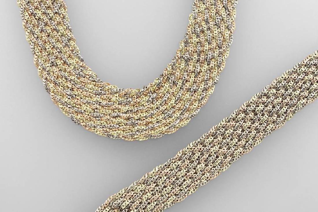 14 kt gold bracelet and necklace