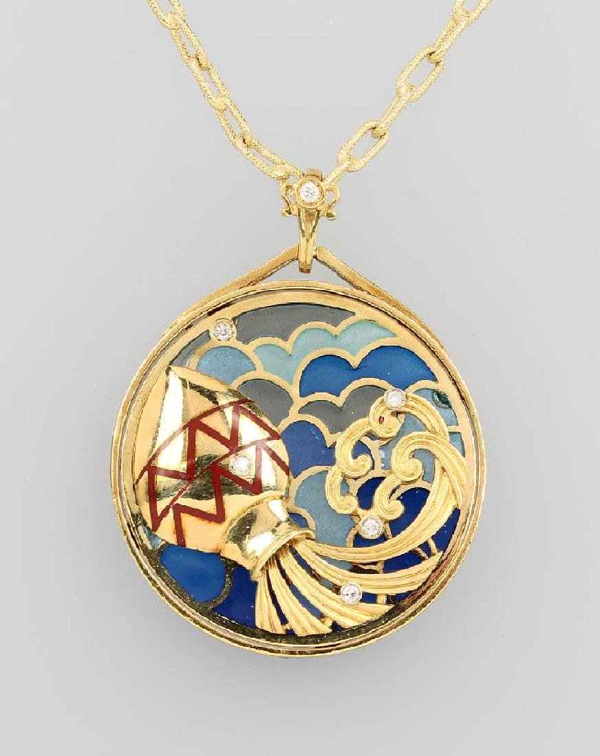 18 kt gold designer pendant with enamel and diamonds