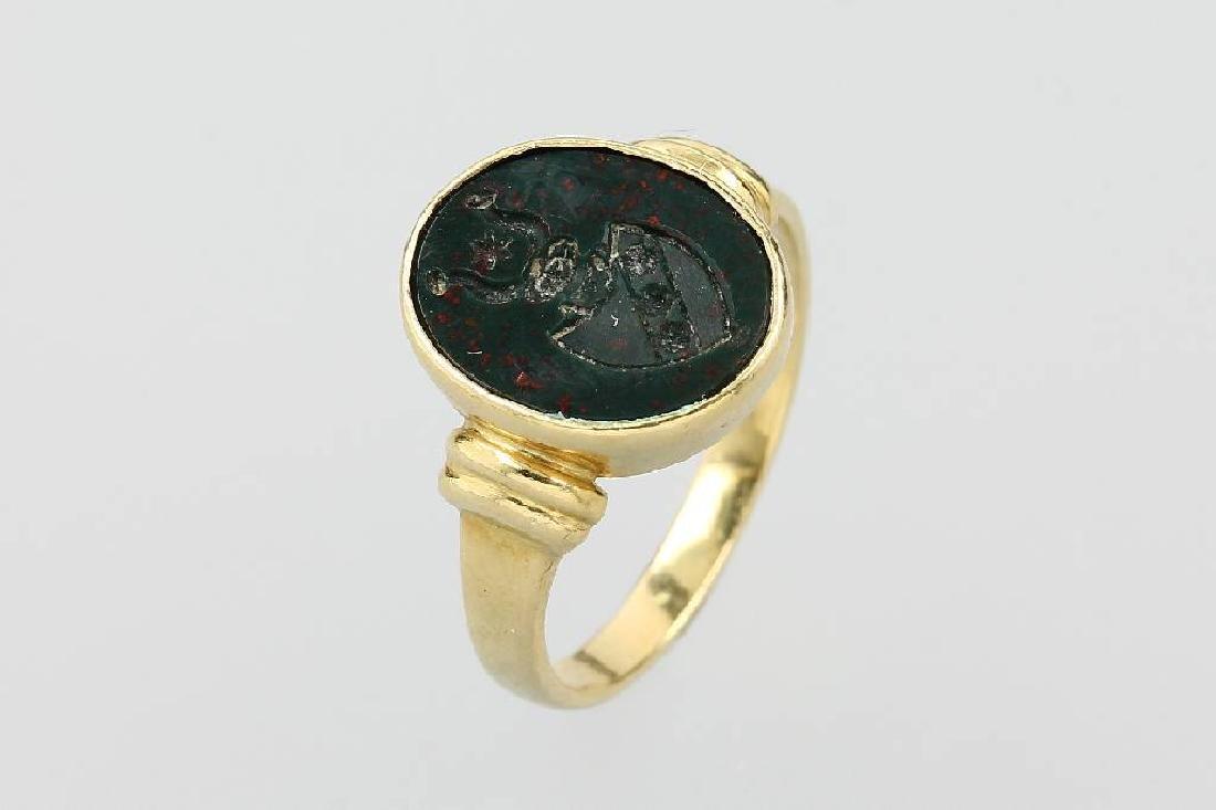 18 kt gold signet ring with blood jasper