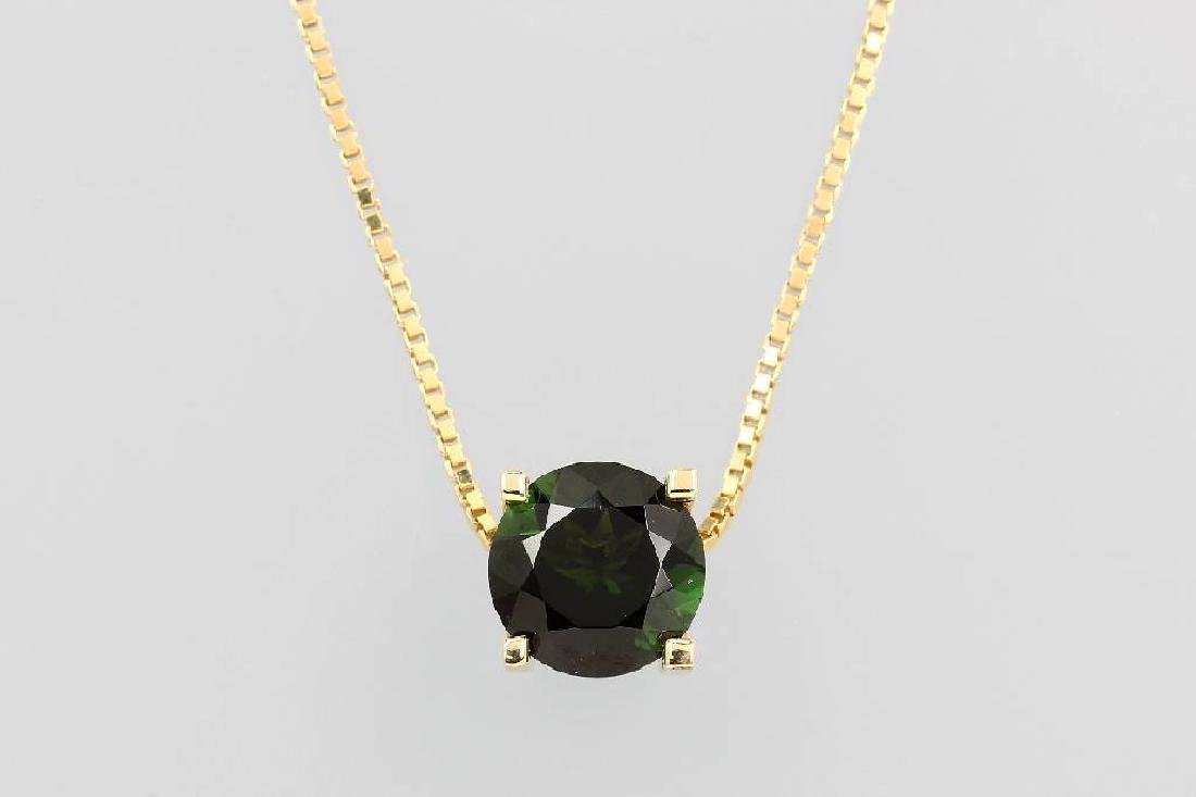 14 kt gold pendant with tourmaline