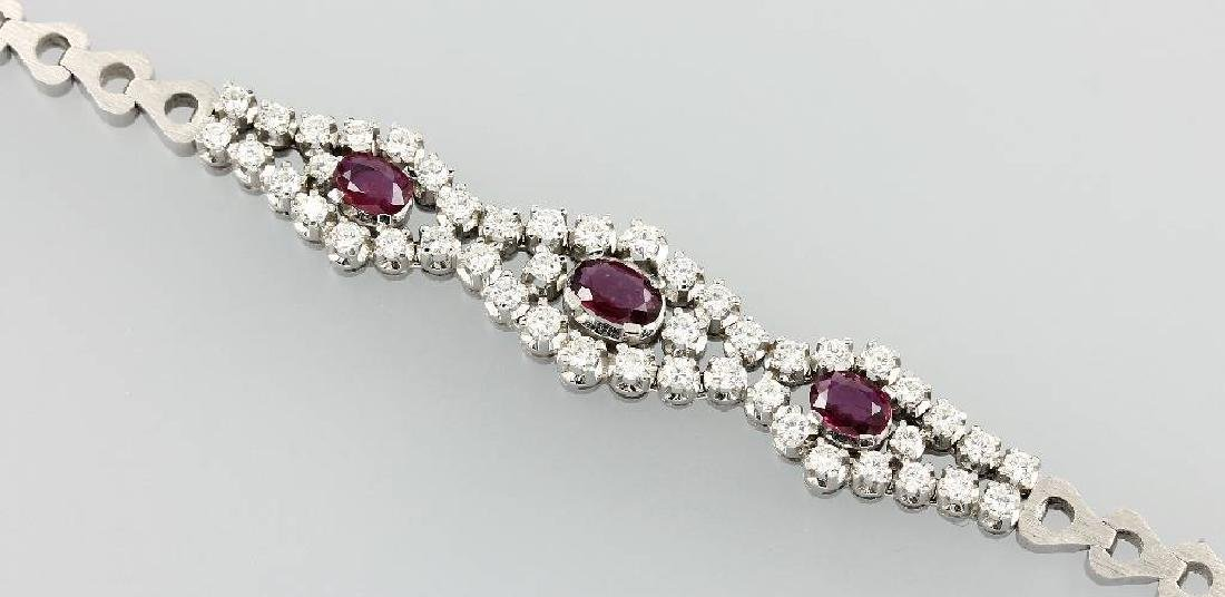 18 kt gold bracelet with brilliants and rubies