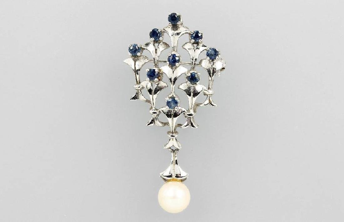 14 kt gold brooch with cultured pearl and sapphires
