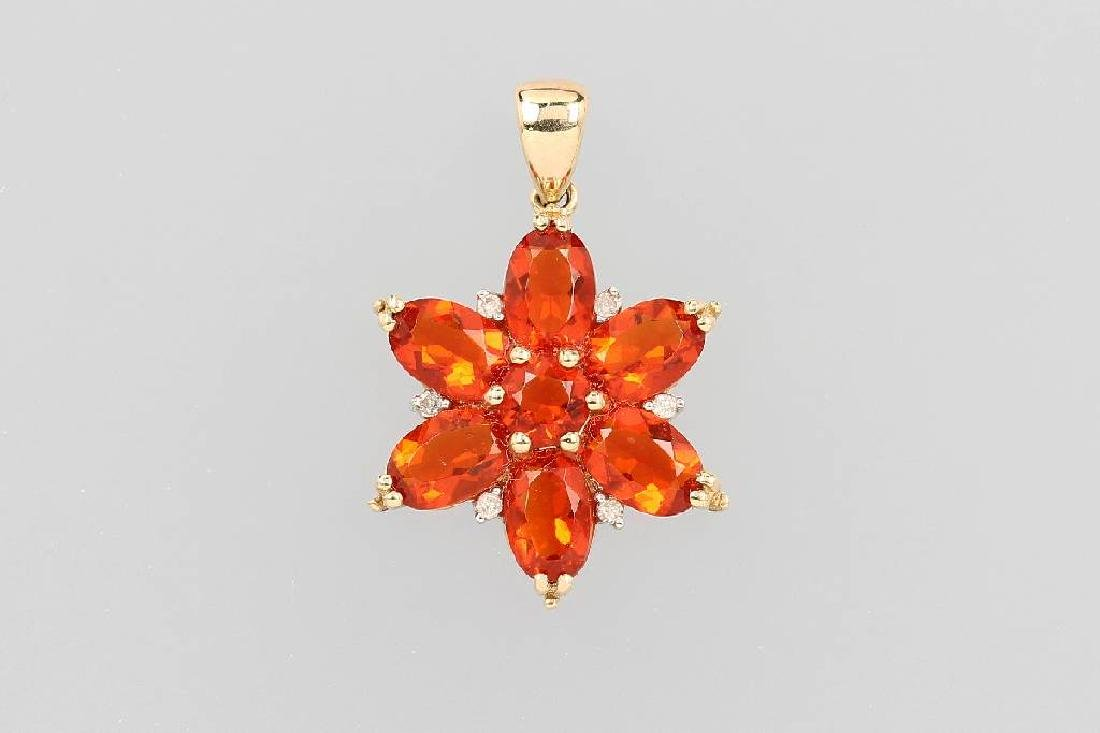 14 kt gold pendant with fire opals and diamonds