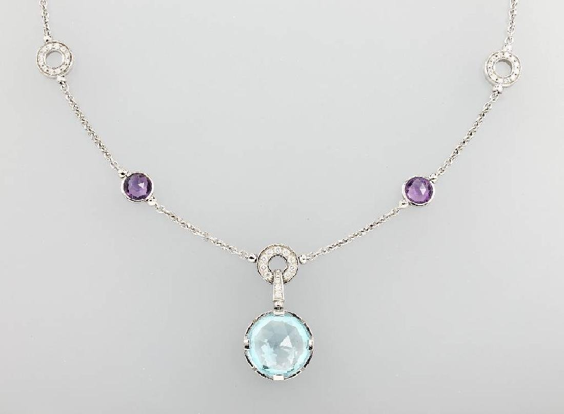 18 kt gold BULGARI necklace with coloured stones and