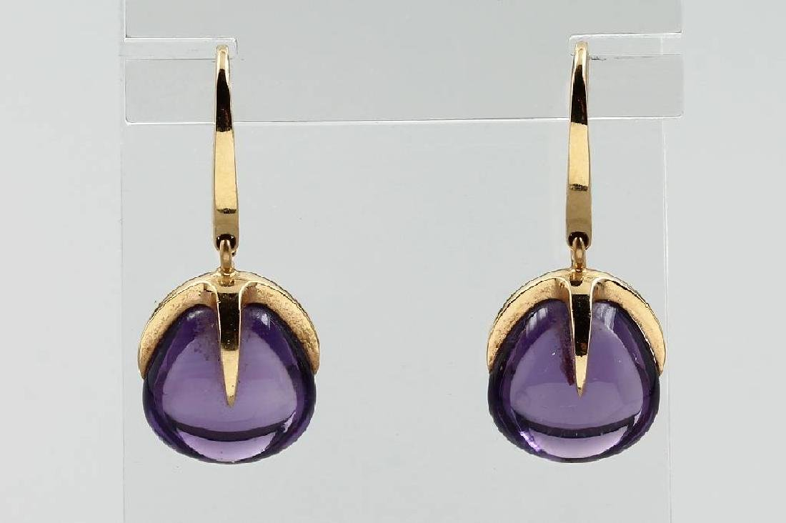Pair of 18 kt gold POMELLATO earrings with amethysts
