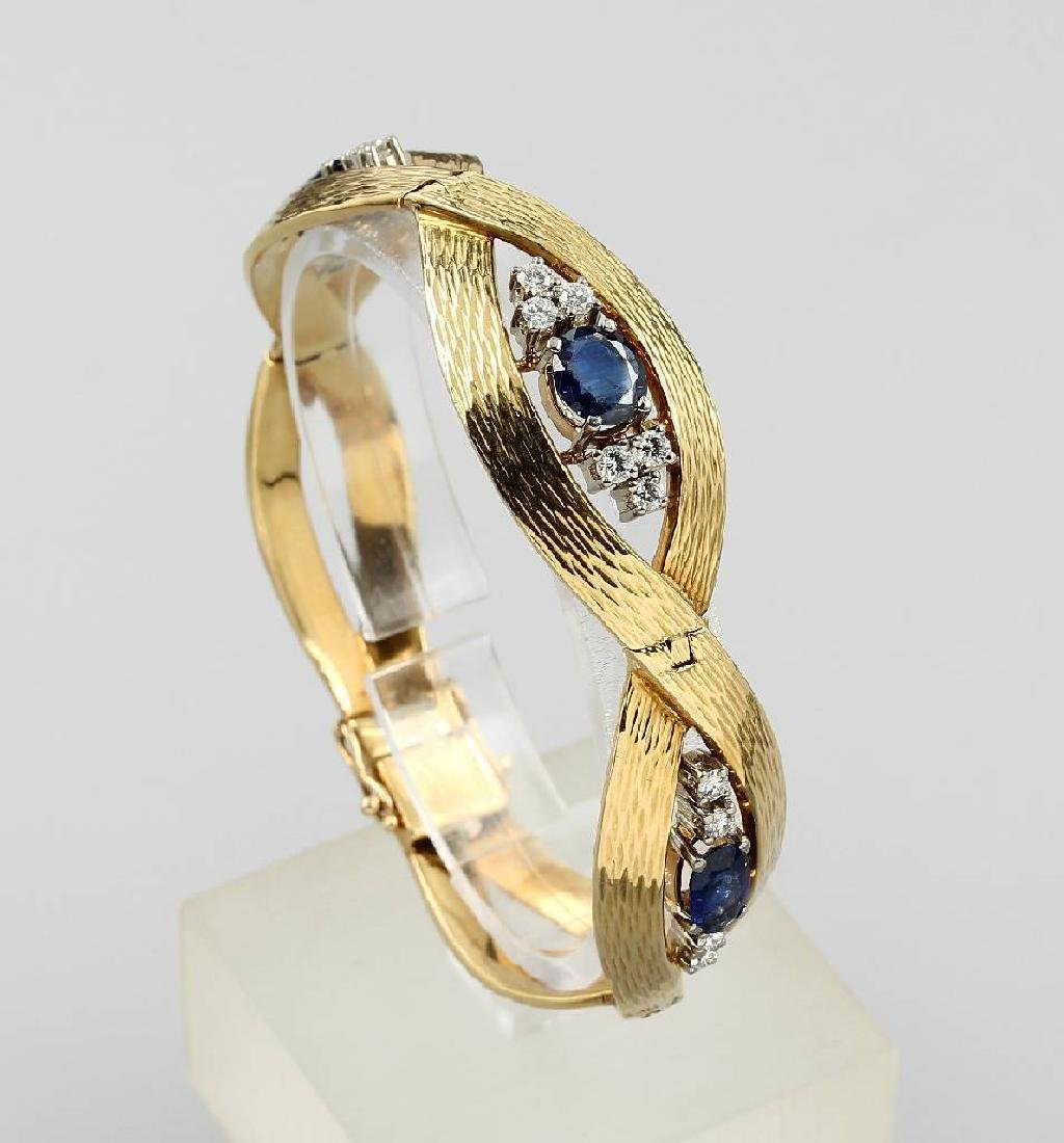 18 kt gold bracelet with diamonds and sapphires