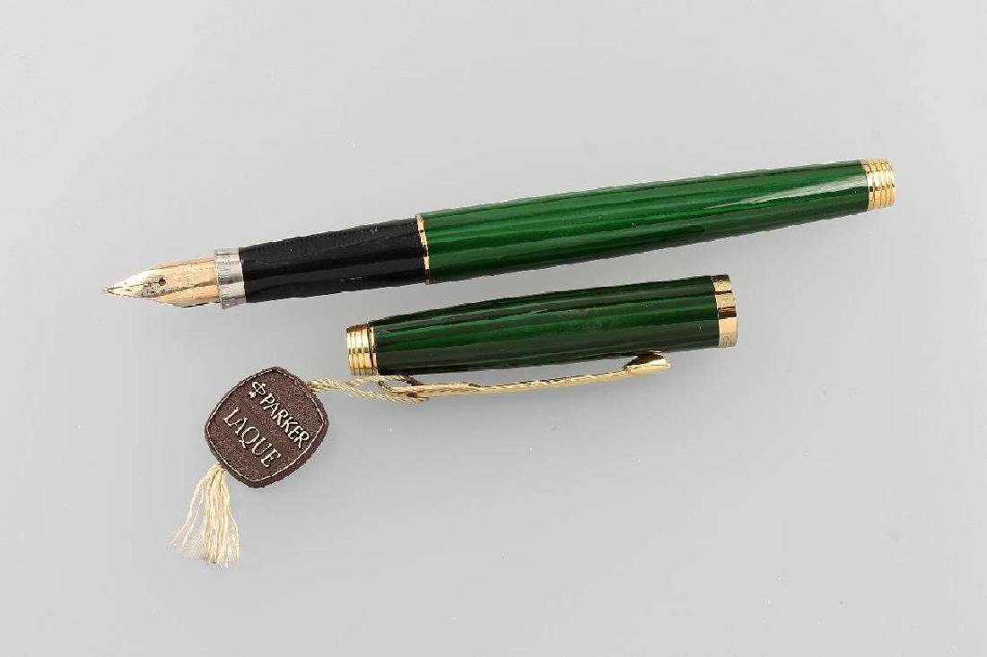 PARKER fountain pen, green lacquer