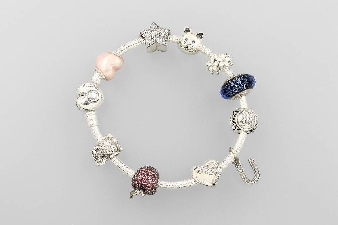 PANDORA bracelet, silver 925, 10 different charms