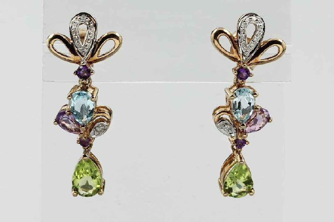Pair of 9 kt gold earrings with coloured stones and