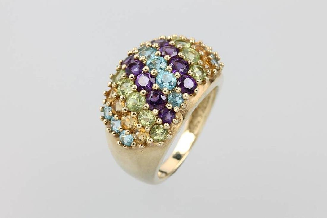 9 kt gold ring with coloured stones