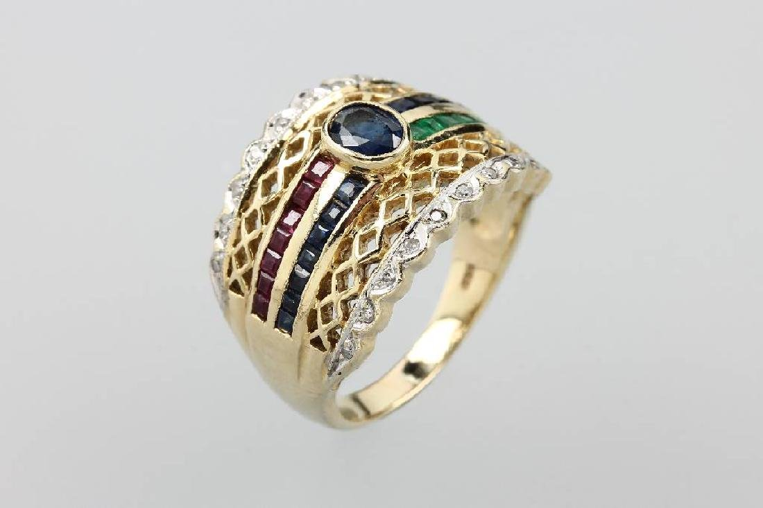 14 kt gold ring with diamonds and coloured stones