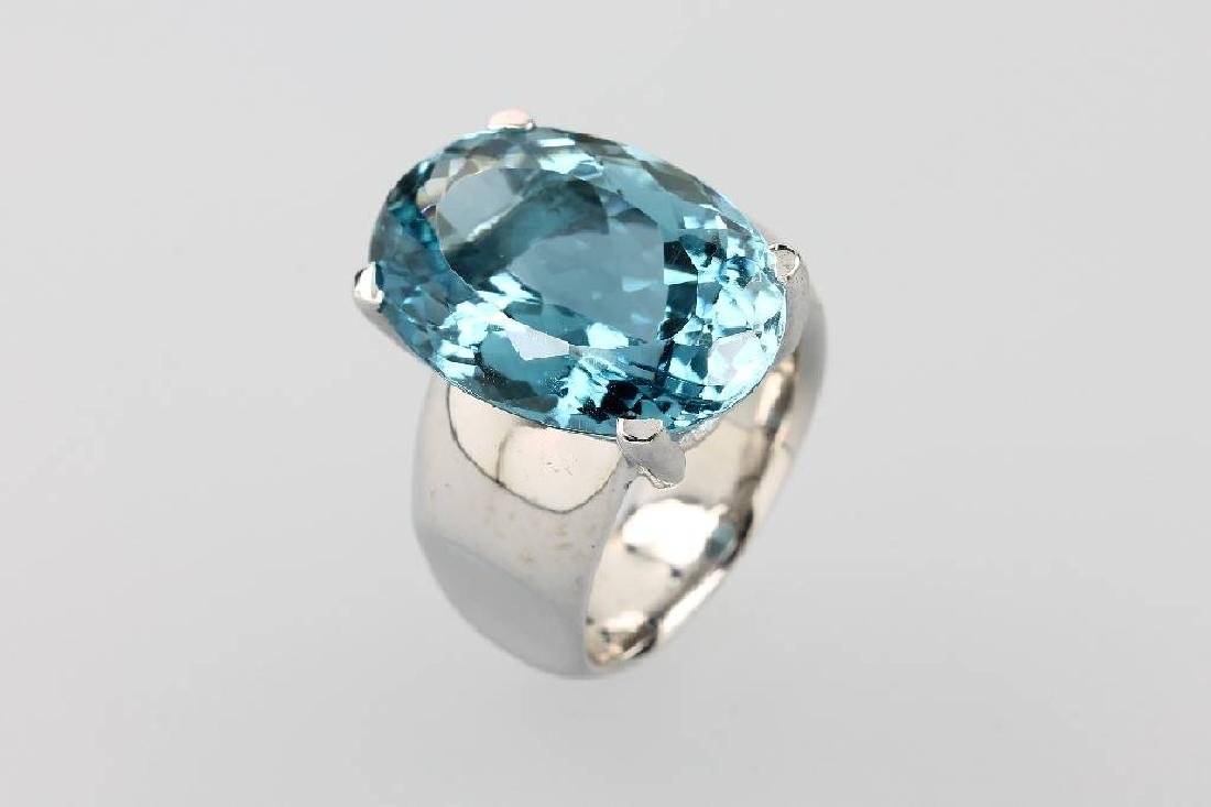 Ring with blue topaz, silver 925