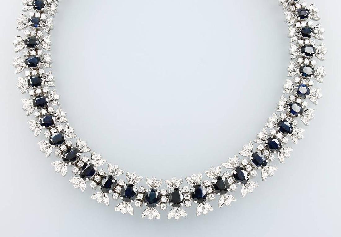 14 kt gold necklace with sapphires and brilliants