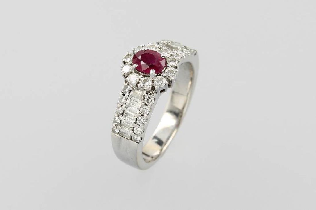 18 kt gold ring with ruby and diamonds