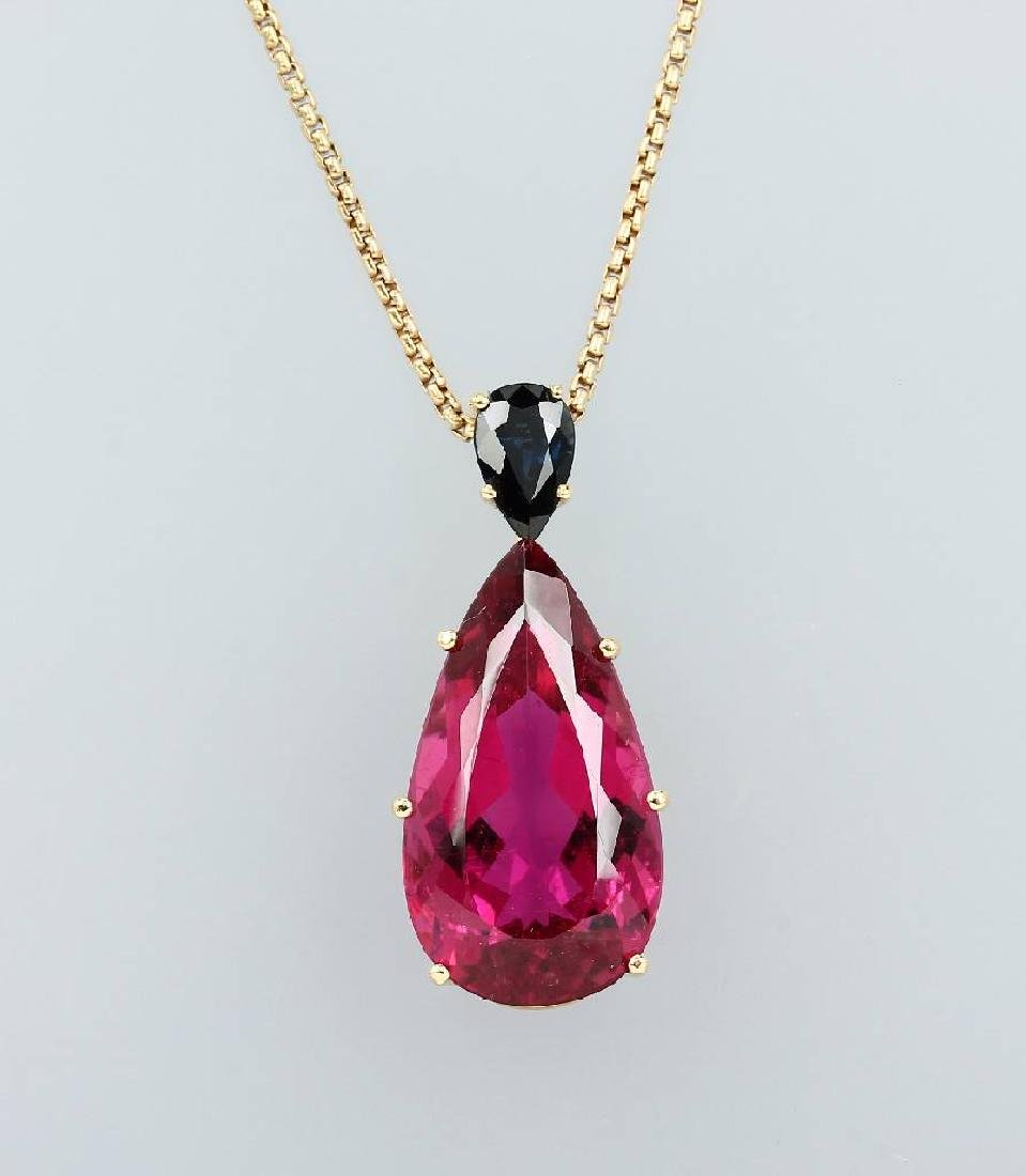 18 kt gold pendant with rubelite and sapphire