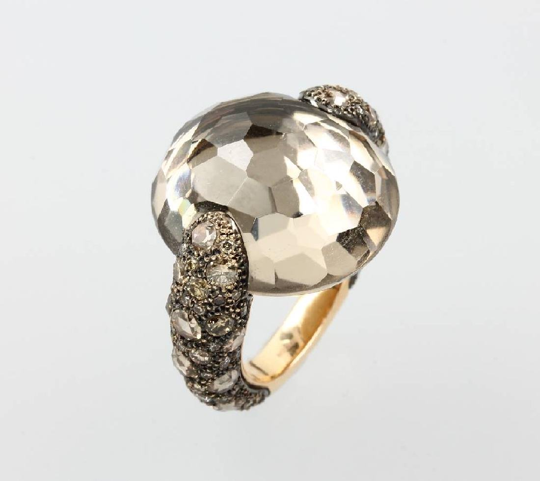 18 kt gold POMELLATO ring with smoky quartz and