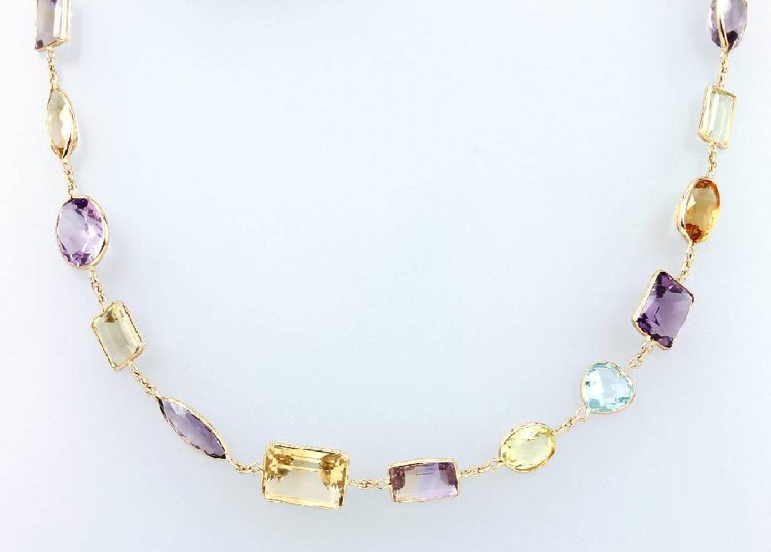 18 kt gold necklace with coloured stones
