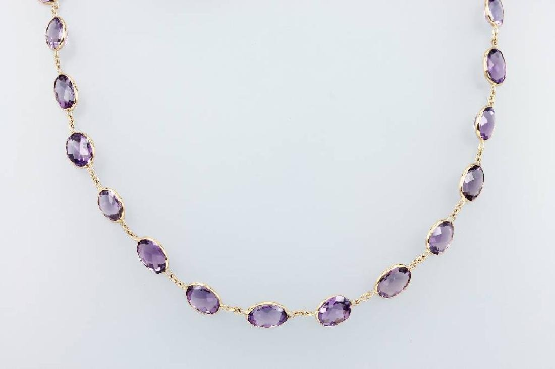8 kt gold necklace with amethysts