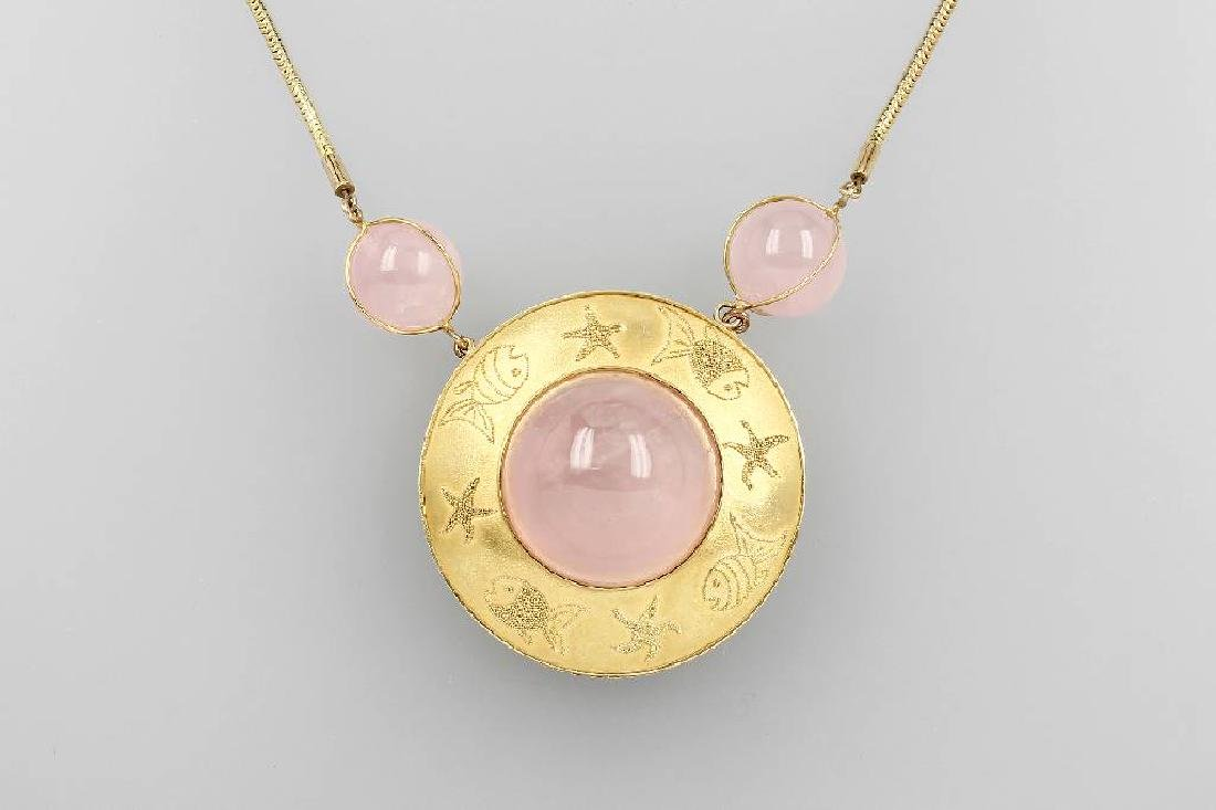 Unusual 14 kt gold necklace with rose quartz