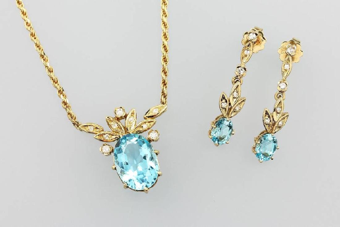14 kt gold jewelry set with coloured stones