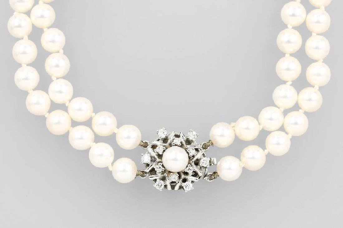 2-row Akoya cultured pearl necklace with diamonds