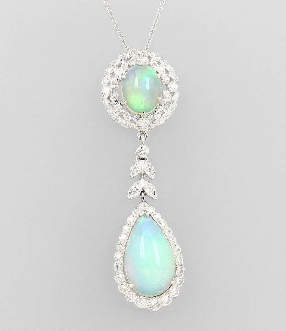 18 kt gold necklace with opals and diamonds