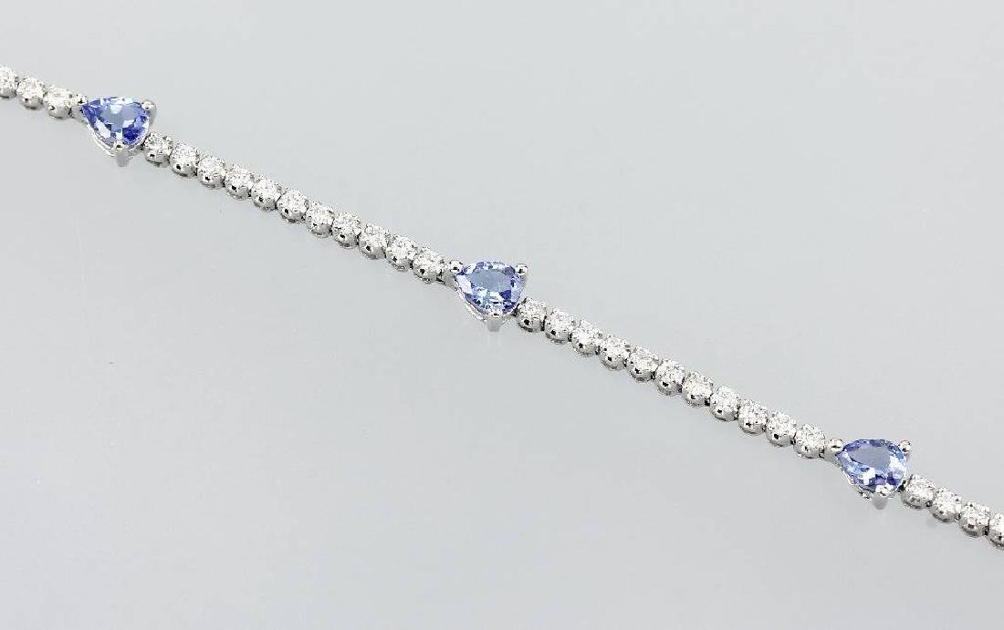 18 kt gold bracelet with brilliants and tanzanites