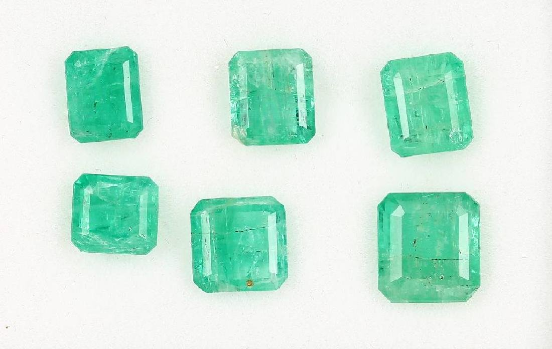 Lot 6 loose emeralds, total approx. 9.46 ct