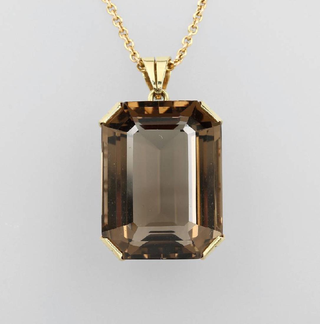 14 kt gold pendant with smoky quartz