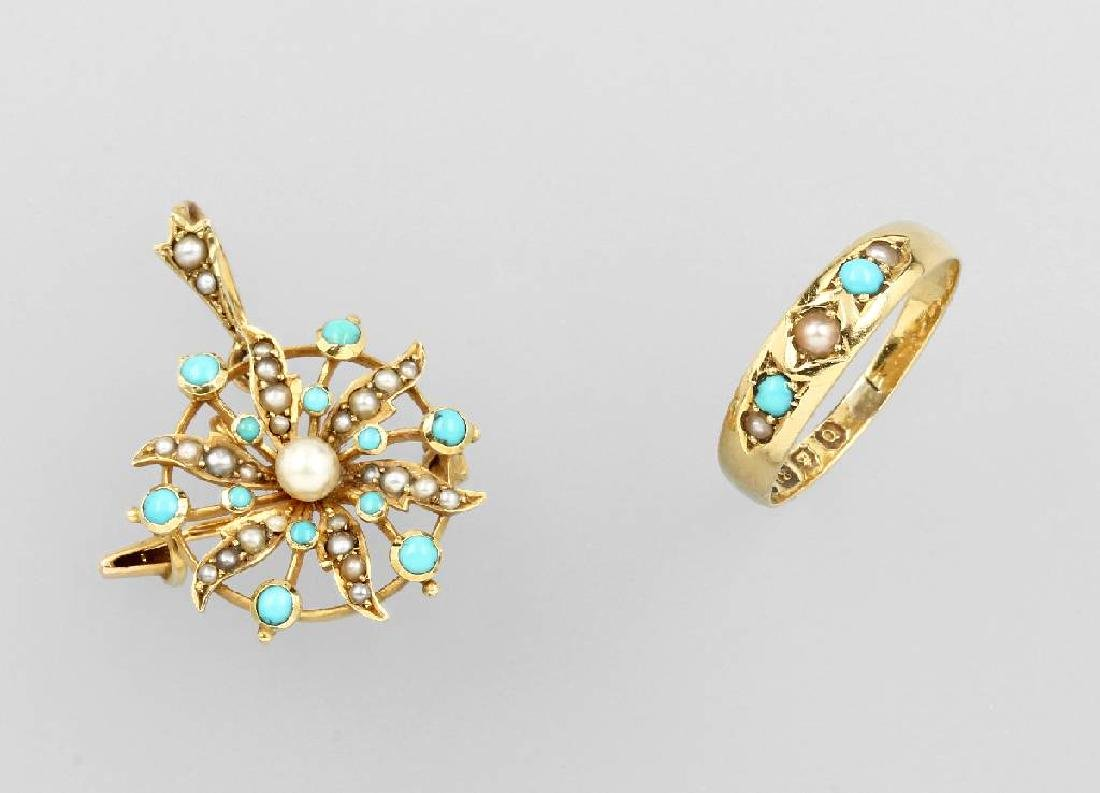 Brooch and Ring with pearls and turquoises, England